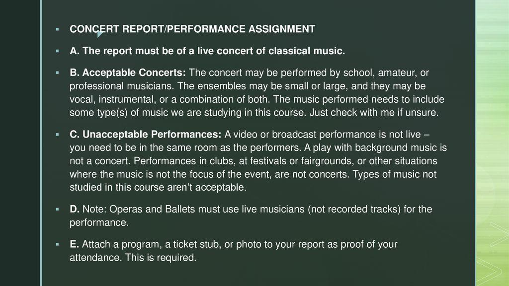 classical music concert report