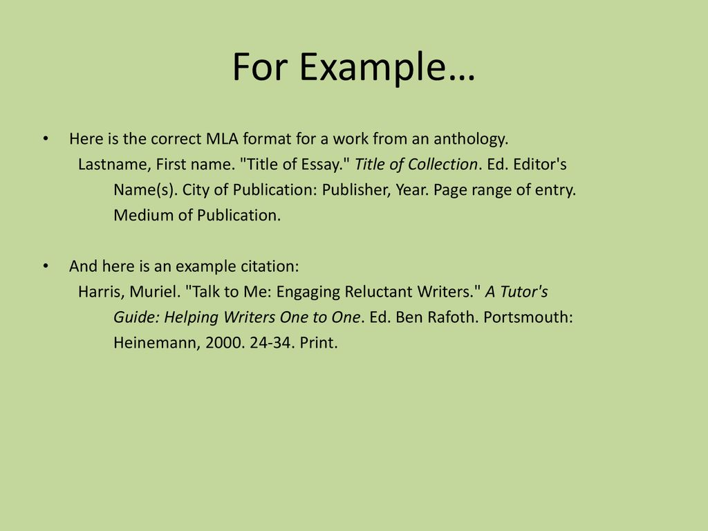 work cited examples mla