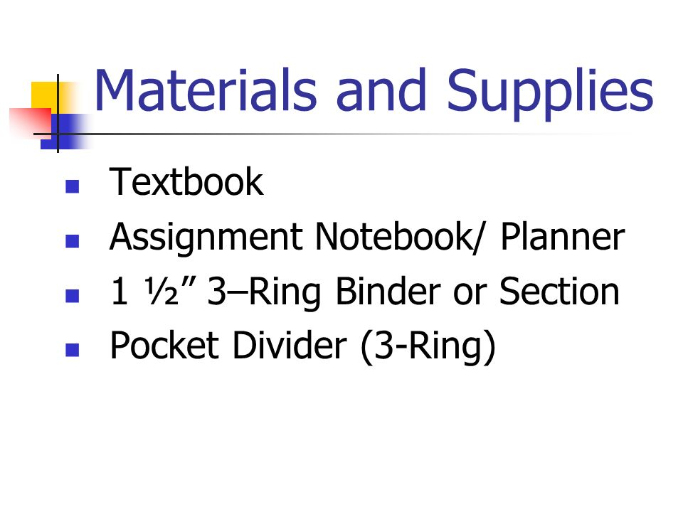 Materials and Supplies