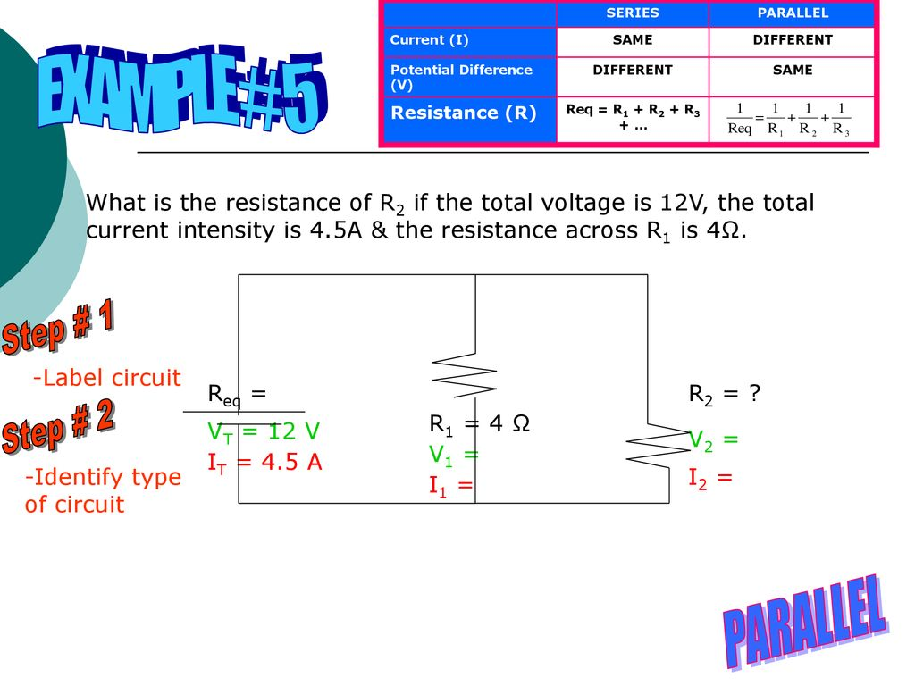 Circuits Objectives 311 Analyze The Distribution Of Current In Voltage Series Parallel Example 5 Step 1 2