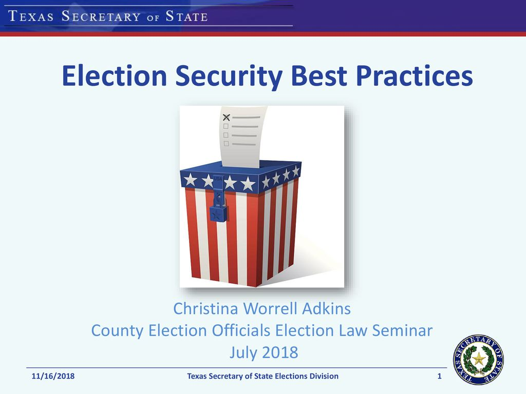 Election Security Best Practices - ppt download