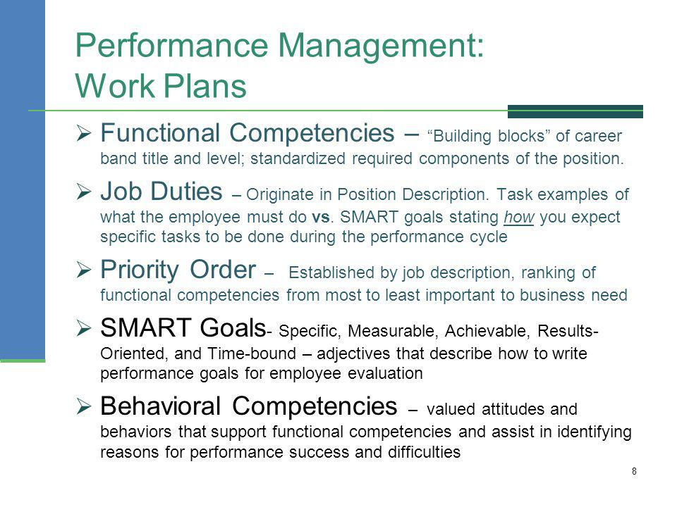 Performance+Management:+Work+Plans Sample Employee Performance Goals Examples on evaluation form, appraisal wording example, write up, appreciation letter, business perspective, write up template,