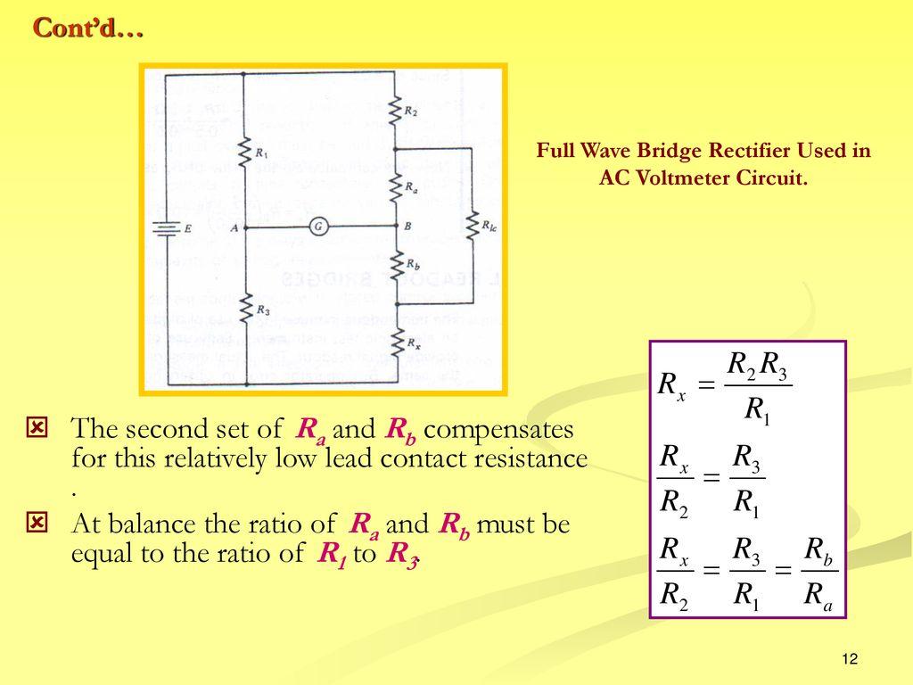 Direct Current Bridge Ppt Download Circuit Diagram Of Full Wave Rectifier 12