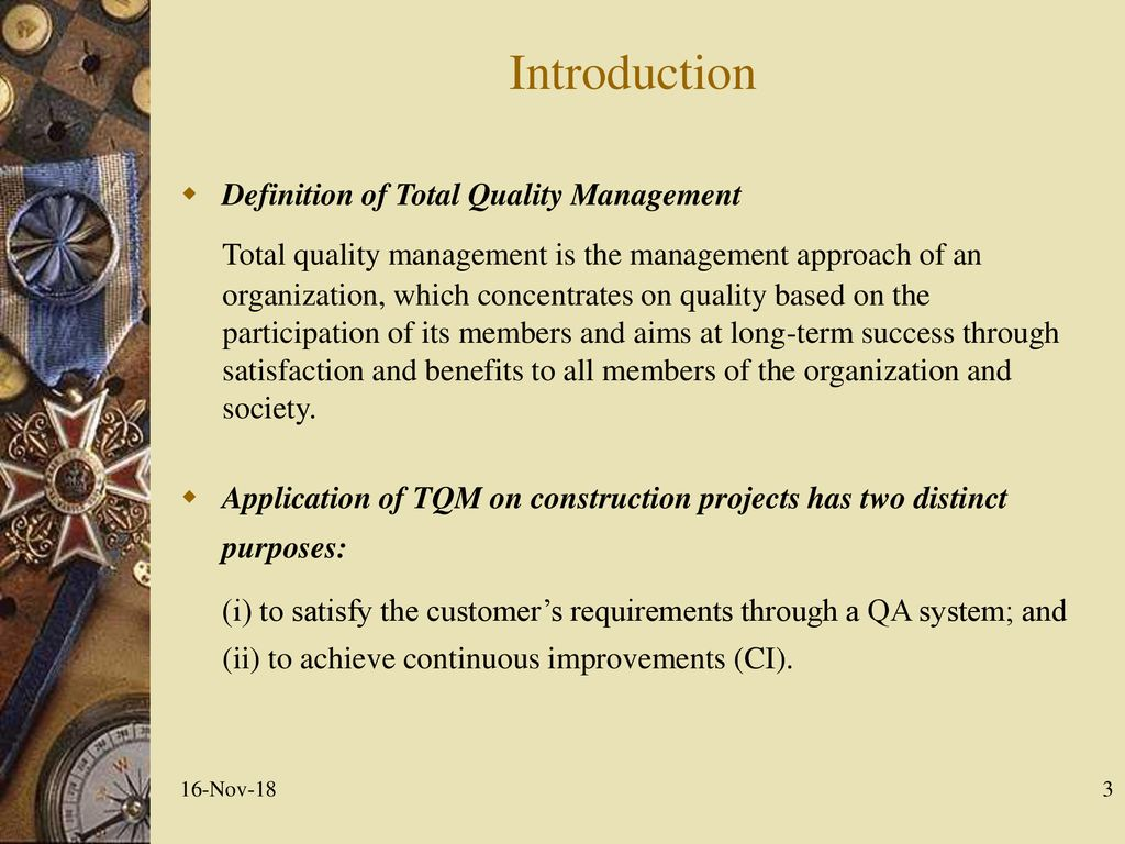 total quality management in construction industry