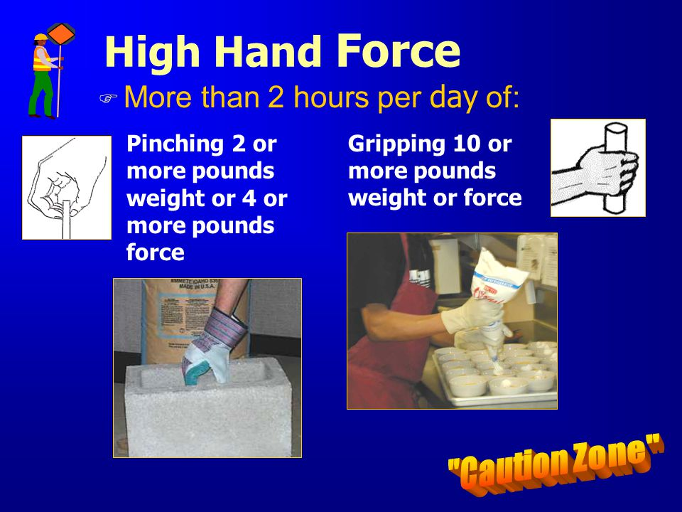 High Hand Force Caution Zone More than 2 hours per day of:
