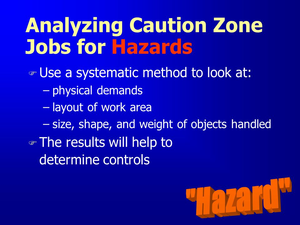Analyzing Caution Zone Jobs for Hazards