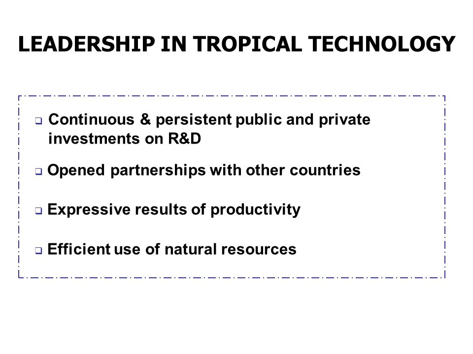 LEADERSHIP IN TROPICAL TECHNOLOGY