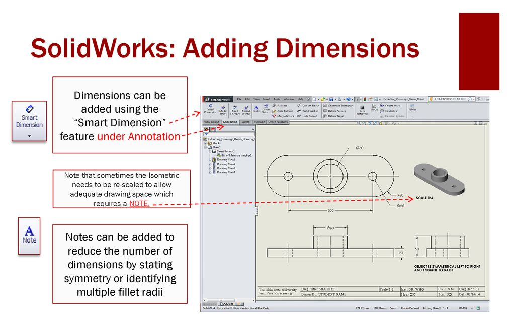 Dimensioning part 1 with SolidWorks - ppt download