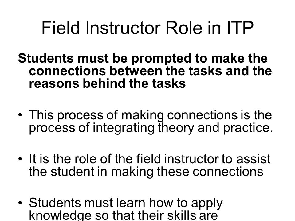 Field Instructor Role in ITP