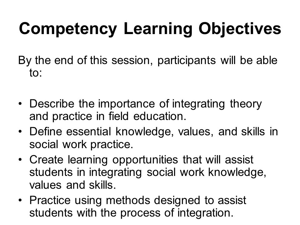 Competency Learning Objectives