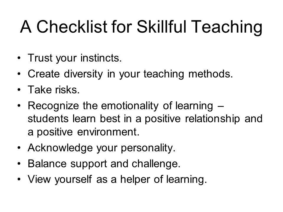 A Checklist for Skillful Teaching