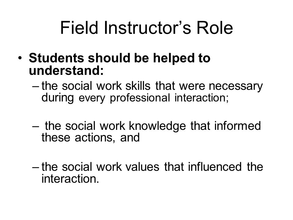 Field Instructor's Role