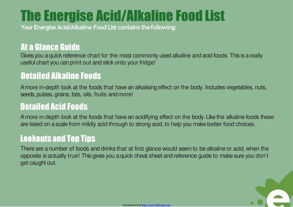 Acid Alkaline Food Chart Ppt Download