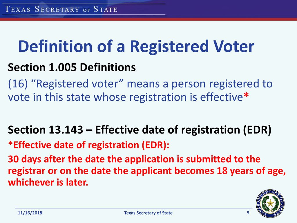 voter qualifications: texas - ppt download