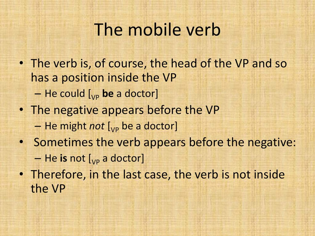 Lecture 8: Verb Positions - ppt download
