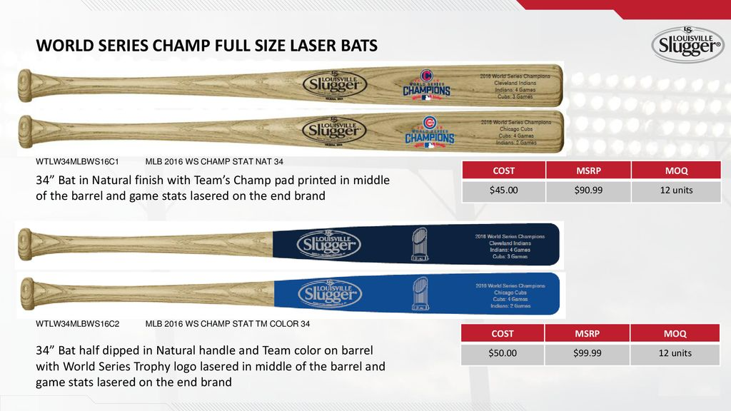 World Series Champ Full Size Laser Bats