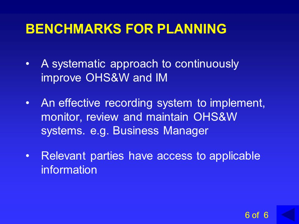 BENCHMARKS FOR PLANNING