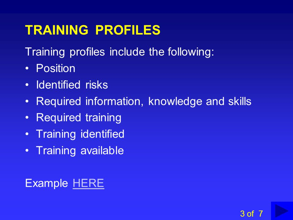 TRAINING PROFILES Training profiles include the following: Position