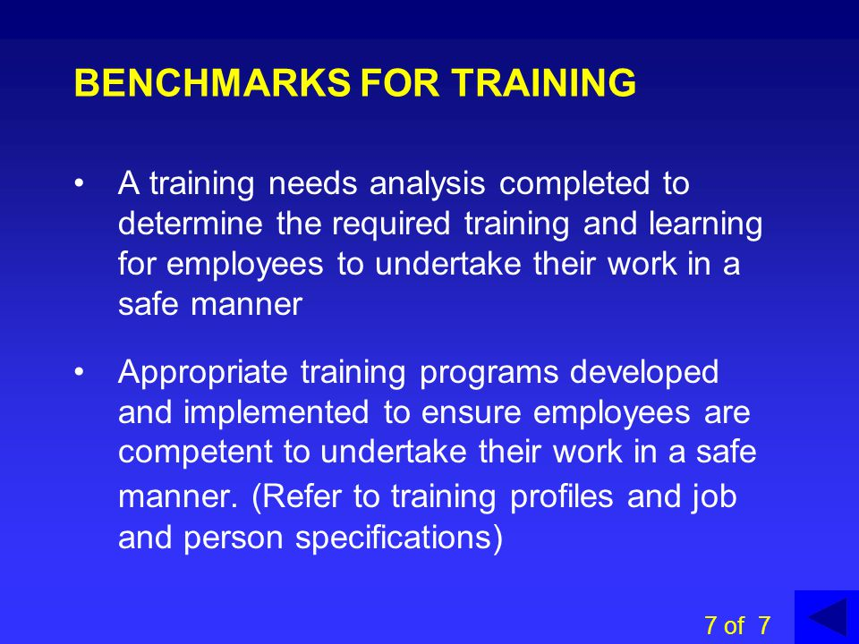 BENCHMARKS FOR TRAINING