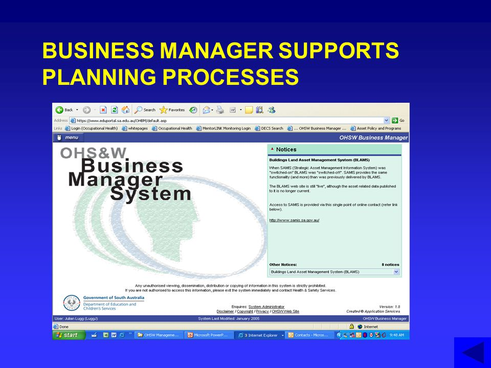 BUSINESS MANAGER SUPPORTS PLANNING PROCESSES