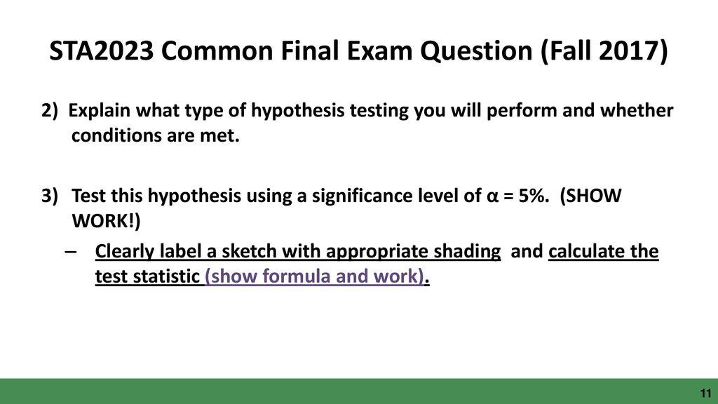 Statistical Methods (STA 2023) Gen Ed Assessment - ppt download