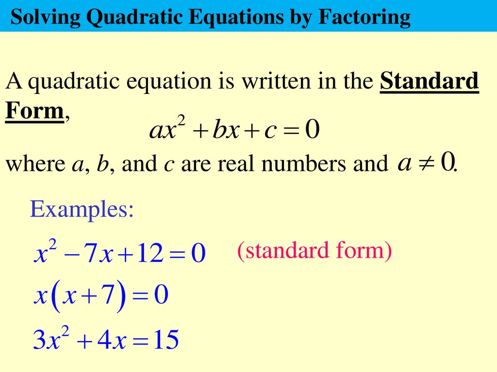 american express card id number  A quadratic equation is written in the Standard Form, - ppt ...