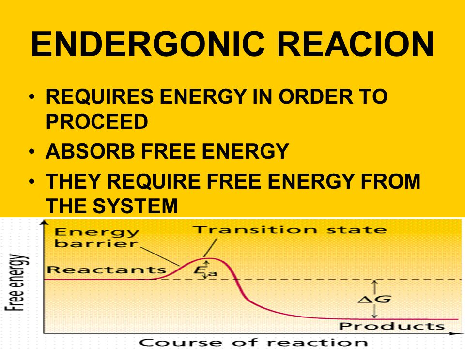 ENDERGONIC REACION REQUIRES ENERGY IN ORDER TO PROCEED