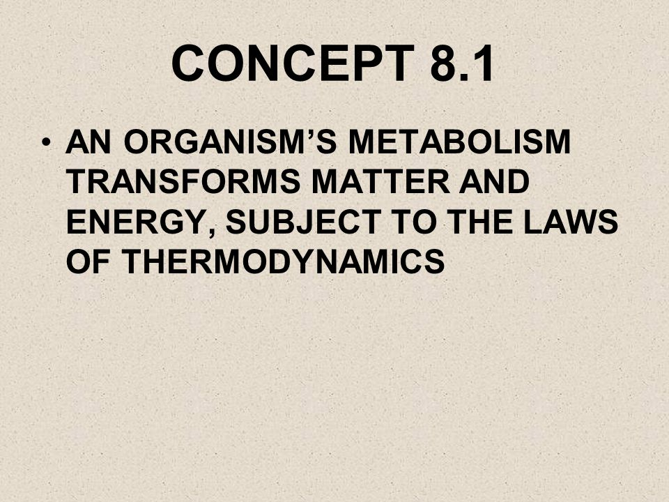 CONCEPT 8.1 AN ORGANISM'S METABOLISM TRANSFORMS MATTER AND ENERGY, SUBJECT TO THE LAWS OF THERMODYNAMICS.