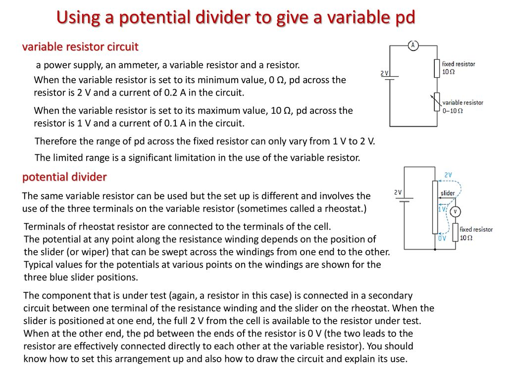 Topic 5 Electricity And Magnetism Ppt Download Circuit Of A Voltage Divider Also Called Potential Is Using To Give Variable Pd