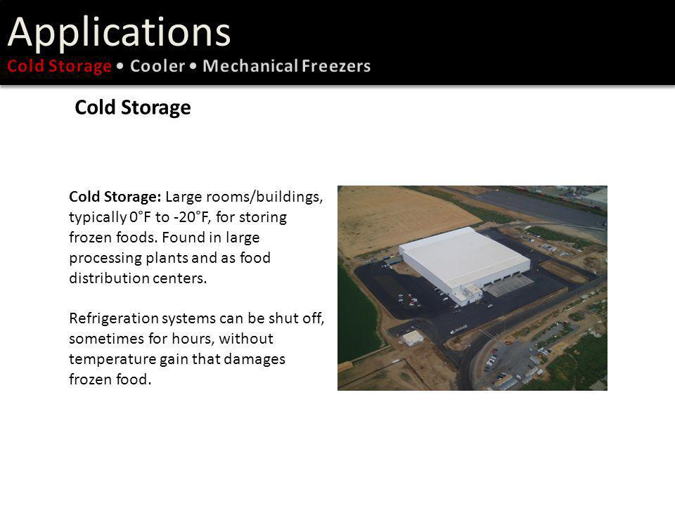 Applications Cold Storage Cold Storage • Cooler • Mechanical Freezers