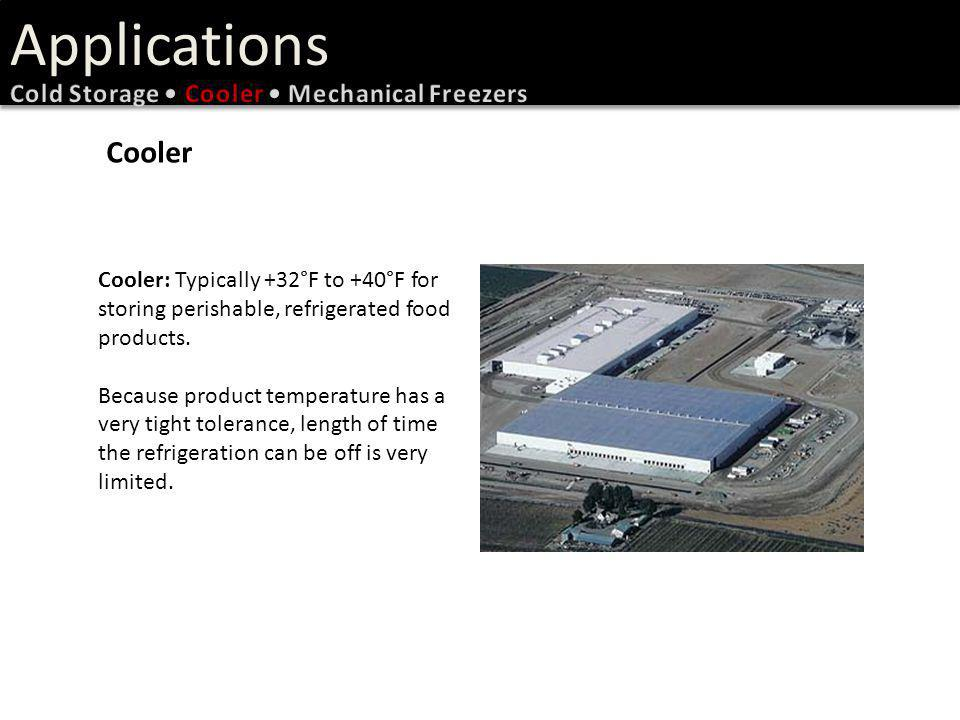 Applications Cooler Cold Storage • Cooler • Mechanical Freezers
