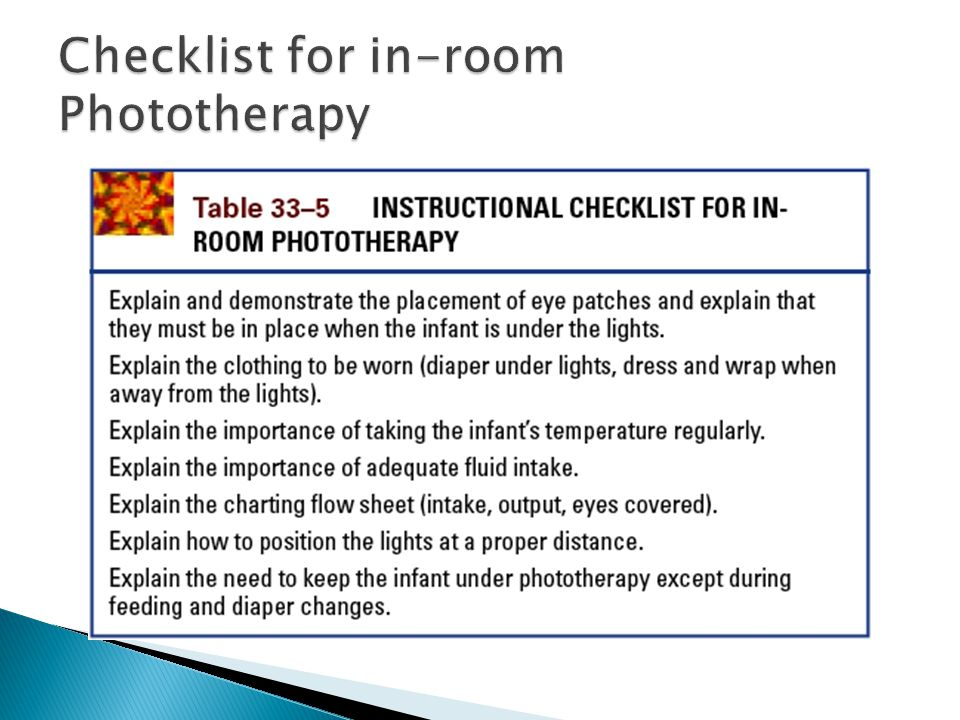 Checklist for in-room Phototherapy