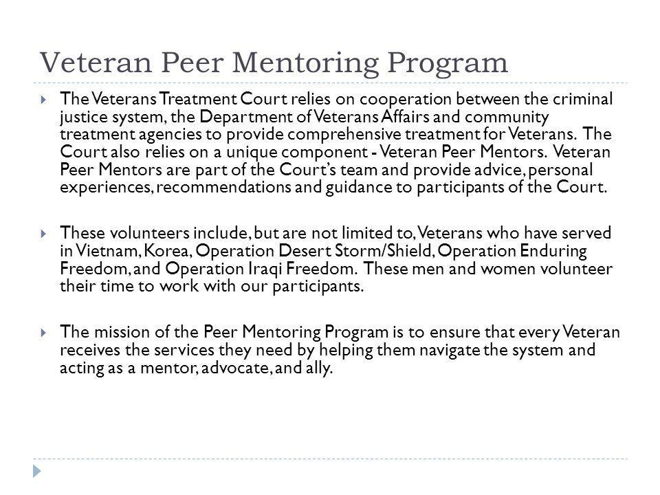 Veteran Peer Mentoring Program