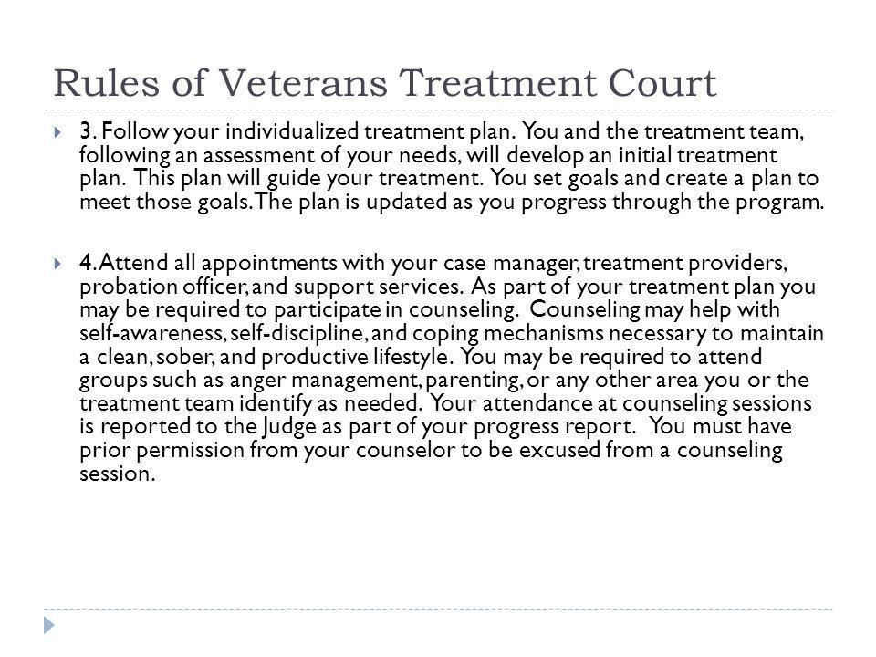 Rules of Veterans Treatment Court