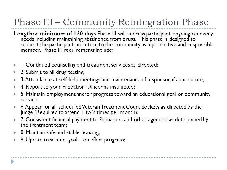 Phase III – Community Reintegration Phase