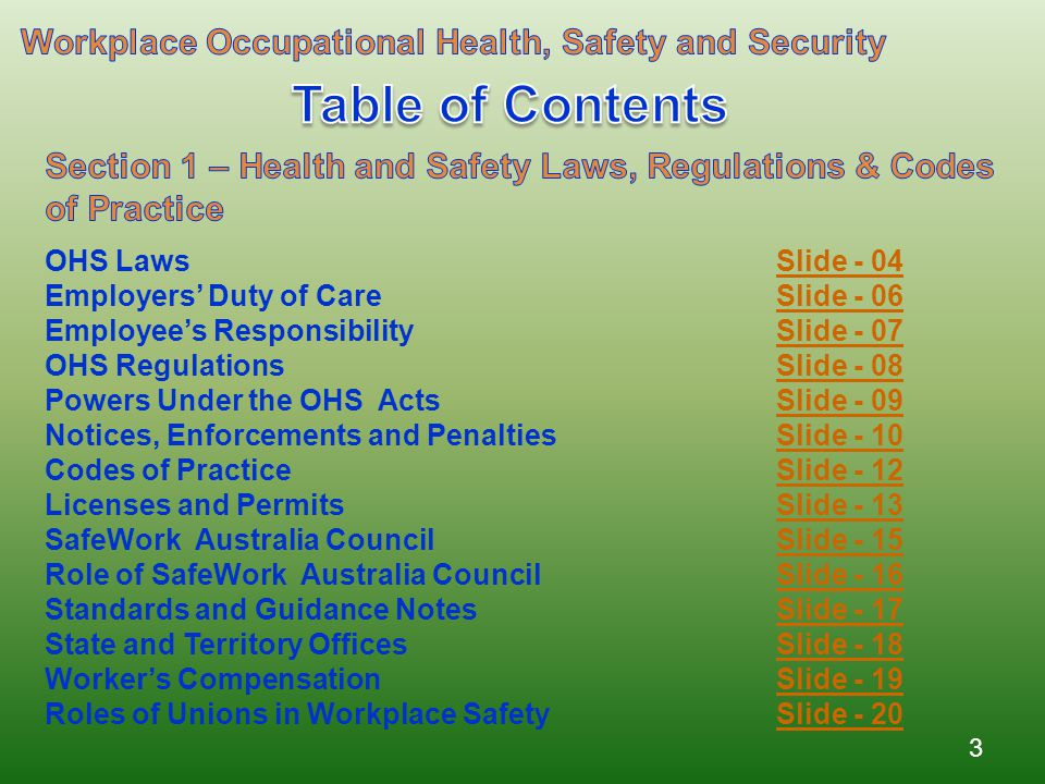 Table of Contents Workplace Occupational Health, Safety and Security