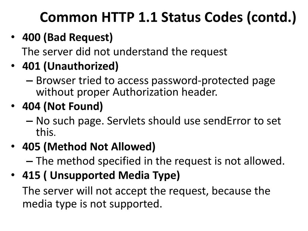 Generating the Server Response: HTTP Status Codes - ppt download