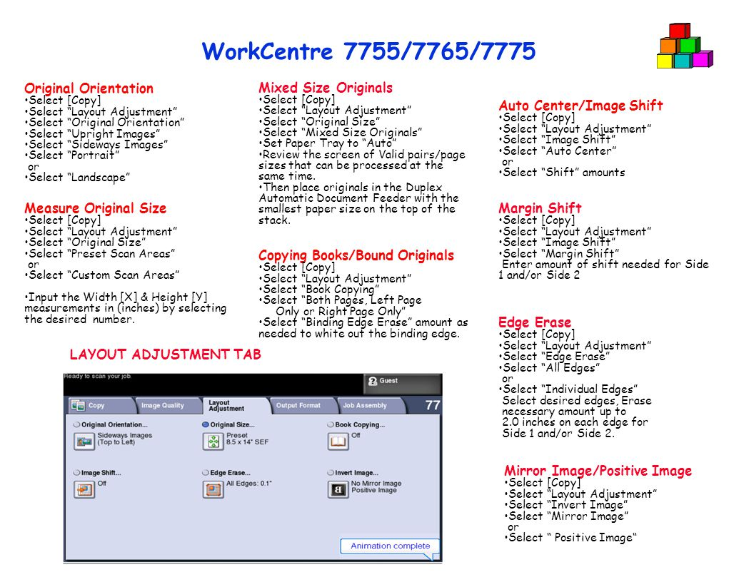 WORKCENTER 7755 – Walk-Up Training COPY Cheat Sheets  - ppt video
