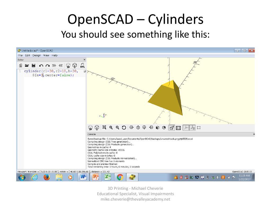 Openscad cylinder radius