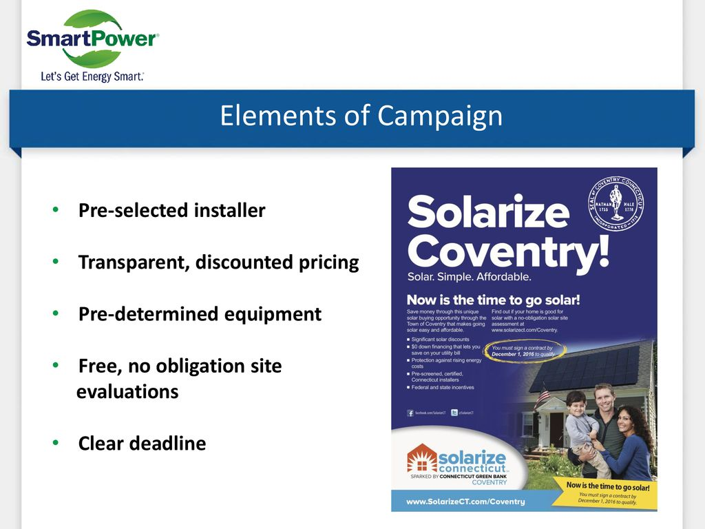 Solarize Connecticut Began 2012 by CT Green Bank and SmartPower
