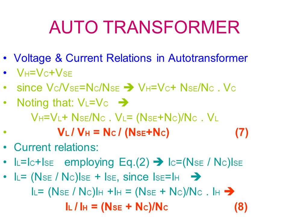 Autotransformer hookup