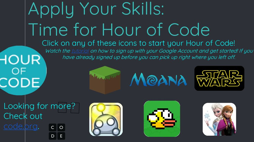 Intro to Coding & Hour of Code Hyperdoc for Grades ppt download