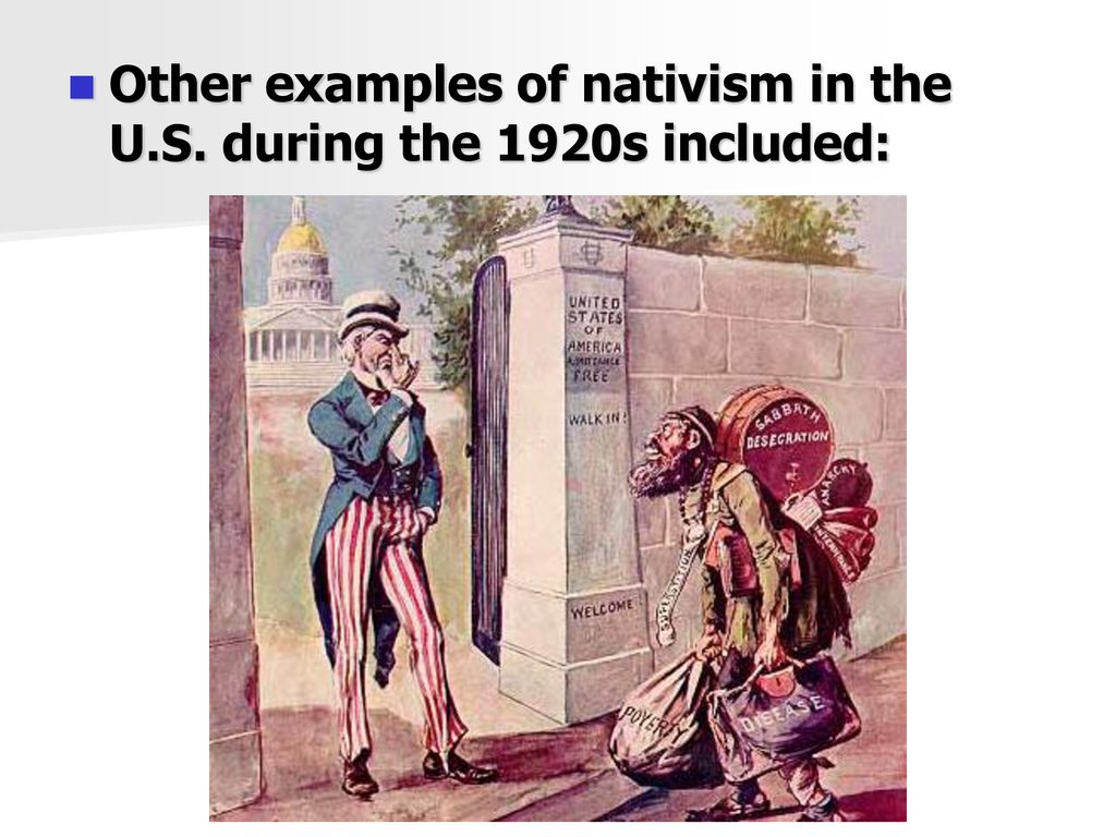 examples of nativism in 1920s