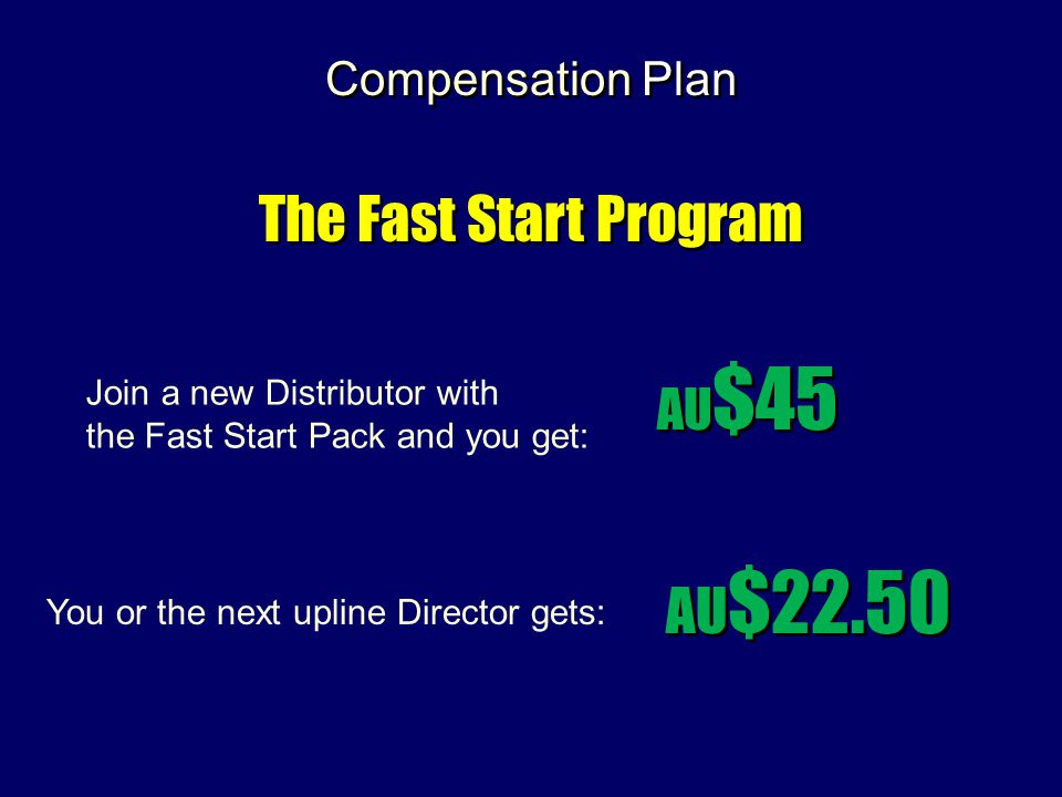 The Fast Start Program AU$22.50 AU$45 Compensation Plan