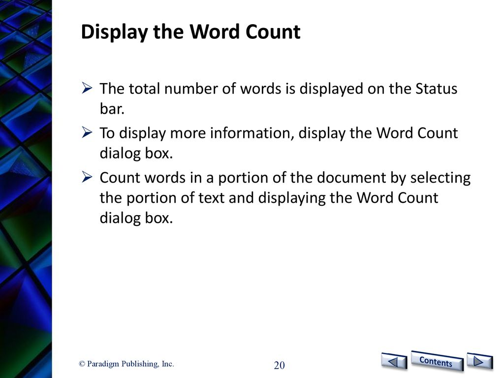 microsoft 2016 word count