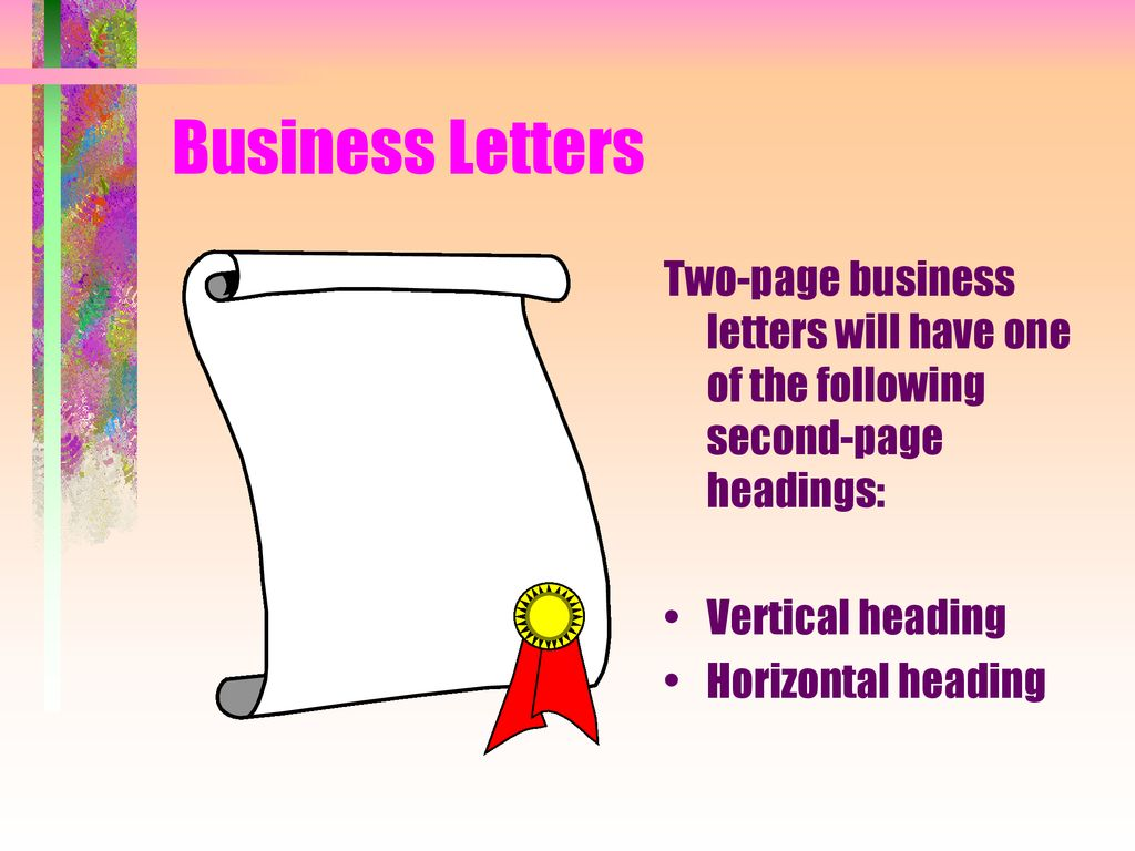 second page of business letter