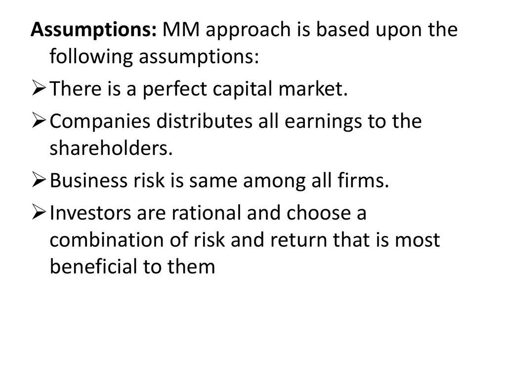 assumptions of mm approach