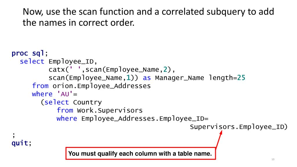 Sql select from subquery