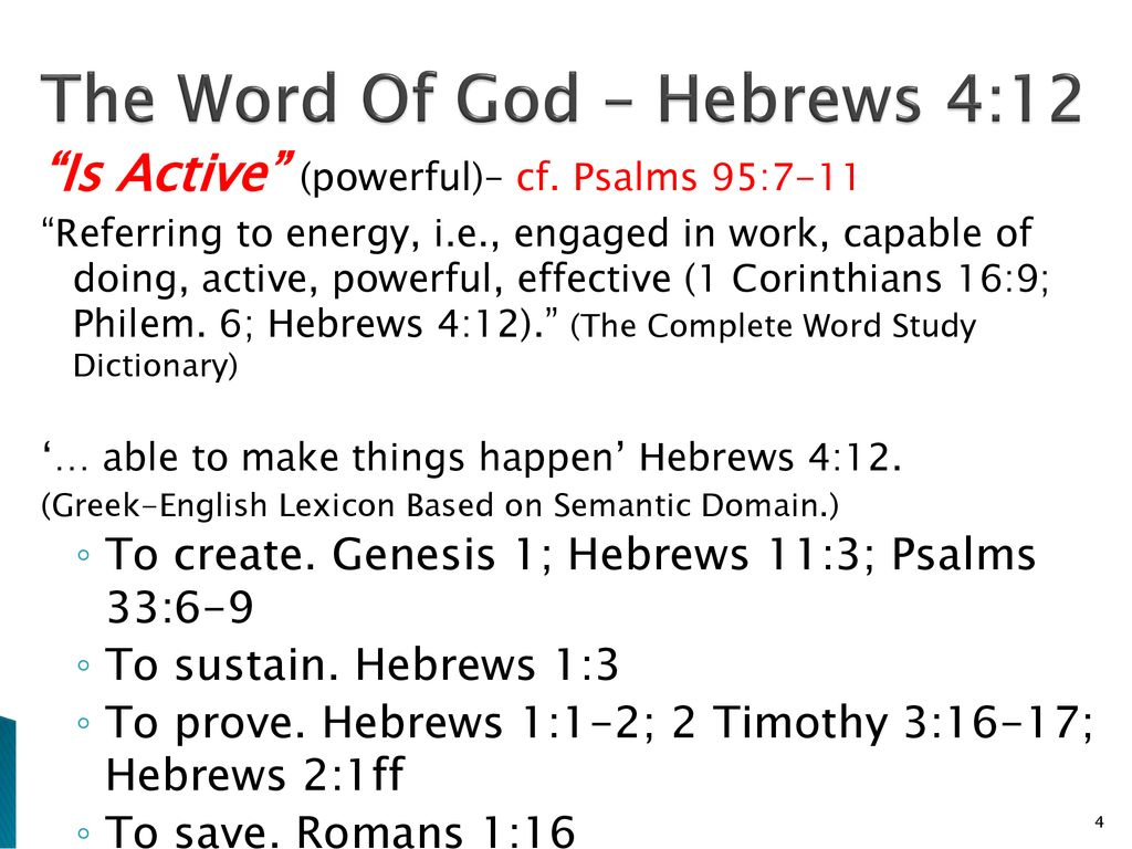 The Word Of God Is … Hebrews 4: ppt download
