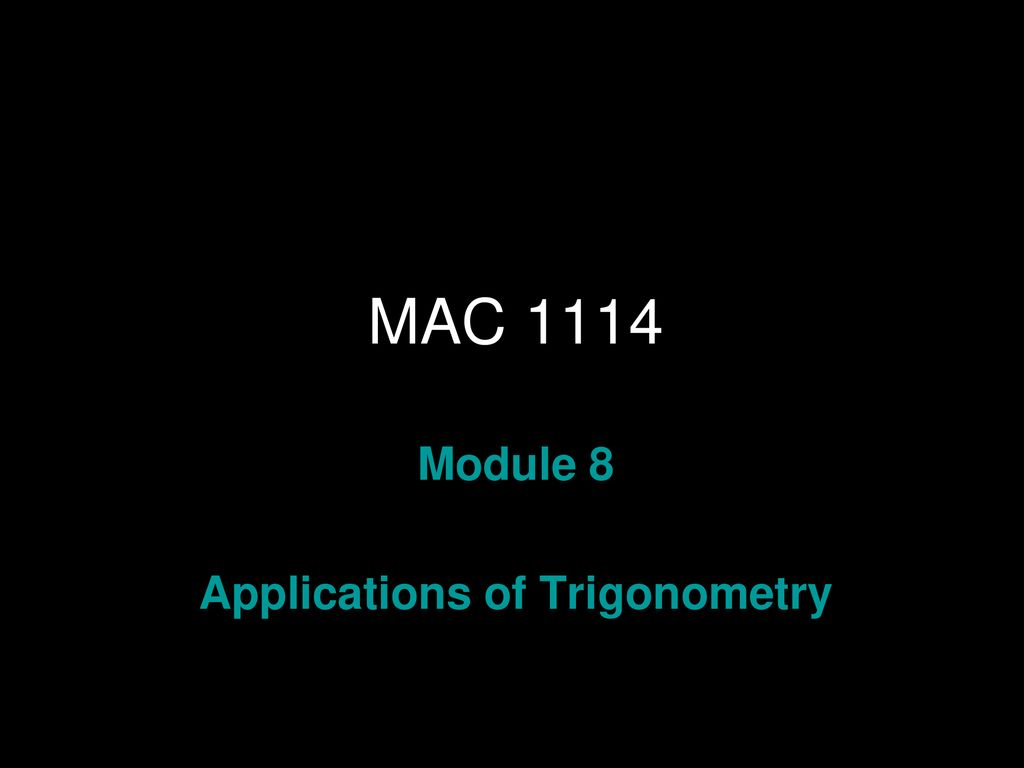 Applications of Trigonometry - ppt download